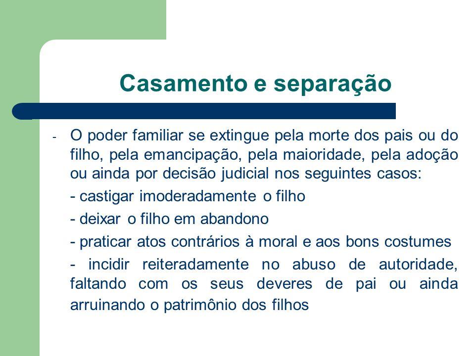 - O poder familiar se extingue pela morte dos pais ou do filho, pela emancipação, pela maioridade, pela adoção ou ainda por decisão judicial nos segui
