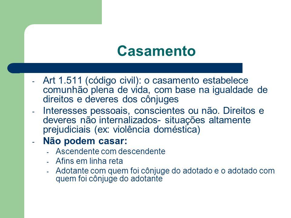 Casamento - Art 1.511 (código civil): o casamento estabelece comunhão plena de vida, com base na igualdade de direitos e deveres dos cônjuges - Intere