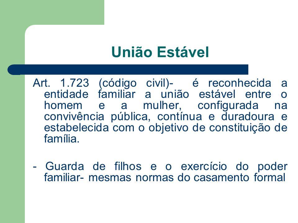 União Estável Art. 1.723 (código civil)- é reconhecida a entidade familiar a união estável entre o homem e a mulher, configurada na convivência públic