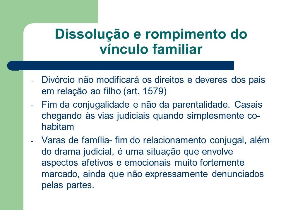 Dissolução e rompimento do vínculo familiar - Divórcio não modificará os direitos e deveres dos pais em relação ao filho (art. 1579) - Fim da conjugal