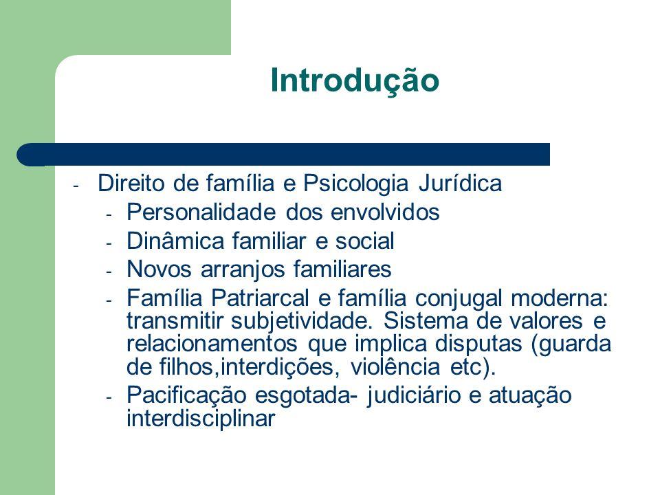 Introdução - Direito de família e Psicologia Jurídica - Personalidade dos envolvidos - Dinâmica familiar e social - Novos arranjos familiares - Famíli