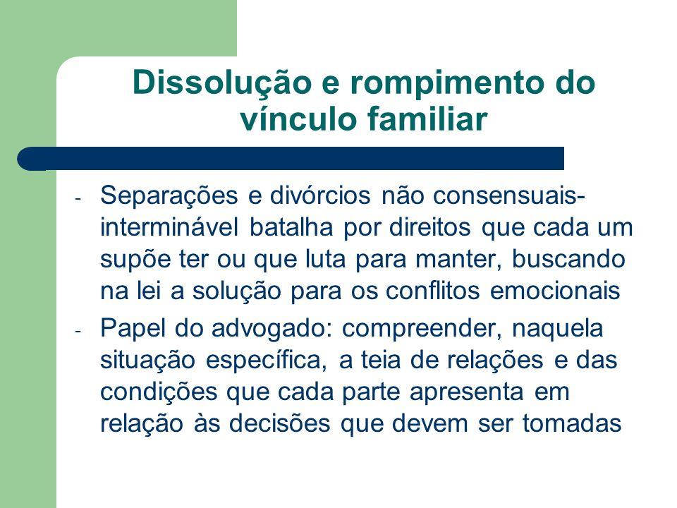Dissolução e rompimento do vínculo familiar - Separações e divórcios não consensuais- interminável batalha por direitos que cada um supõe ter ou que l