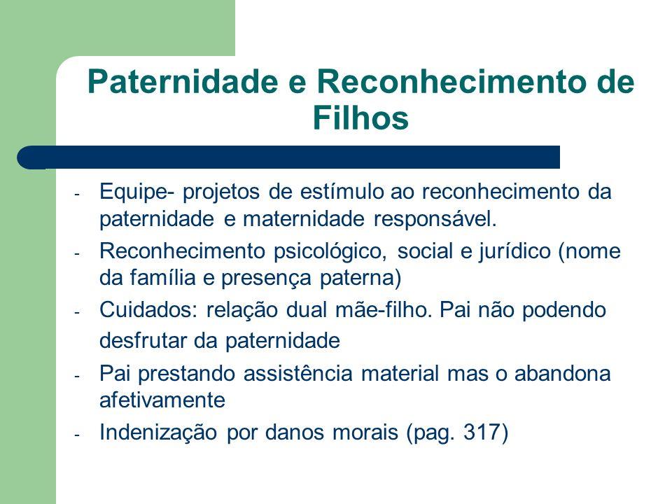 Paternidade e Reconhecimento de Filhos - Equipe- projetos de estímulo ao reconhecimento da paternidade e maternidade responsável. - Reconhecimento psi