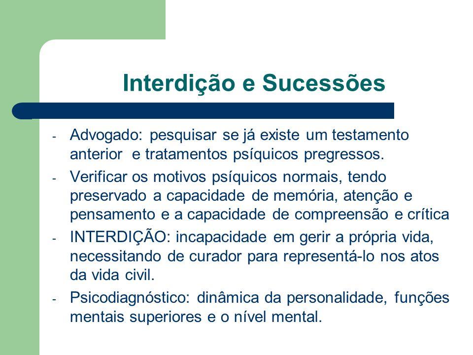 Interdição e Sucessões - Advogado: pesquisar se já existe um testamento anterior e tratamentos psíquicos pregressos. - Verificar os motivos psíquicos