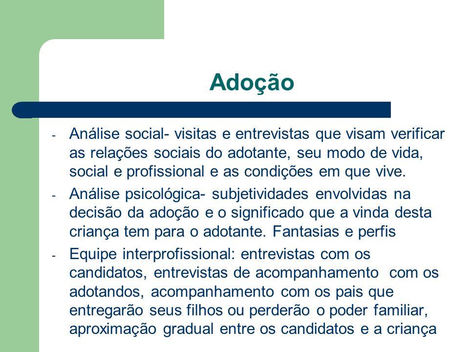Adoção - Análise social- visitas e entrevistas que visam verificar as relações sociais do adotante, seu modo de vida, social e profissional e as condi