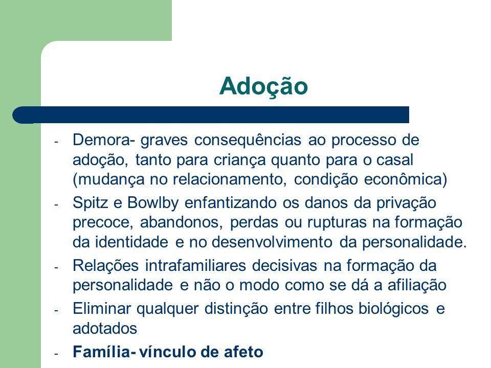 Adoção - Demora- graves consequências ao processo de adoção, tanto para criança quanto para o casal (mudança no relacionamento, condição econômica) -