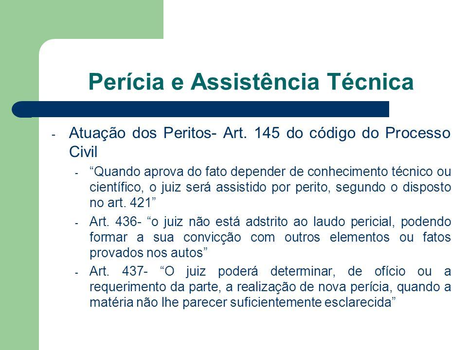 Perícia e Assistência Técnica - Atuação dos Peritos- Art. 145 do código do Processo Civil - Quando aprova do fato depender de conhecimento técnico ou