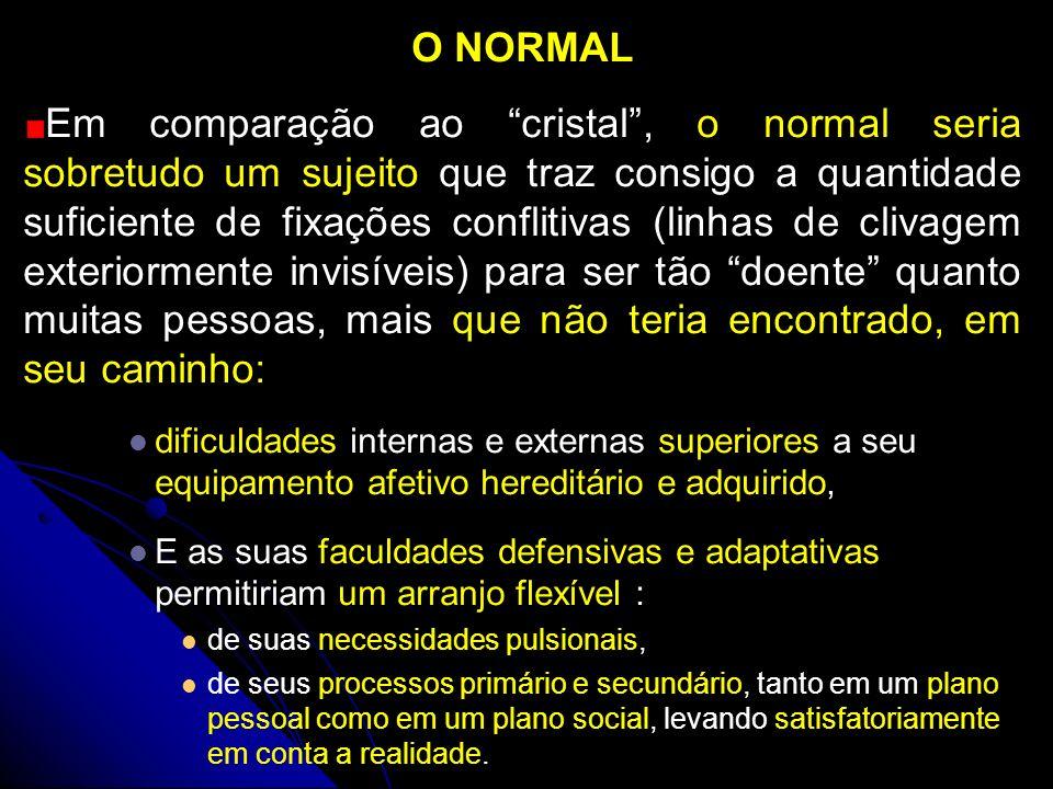 O NORMAL Em comparação ao cristal, o normal seria sobretudo um sujeito que traz consigo a quantidade suficiente de fixações conflitivas (linhas de cli