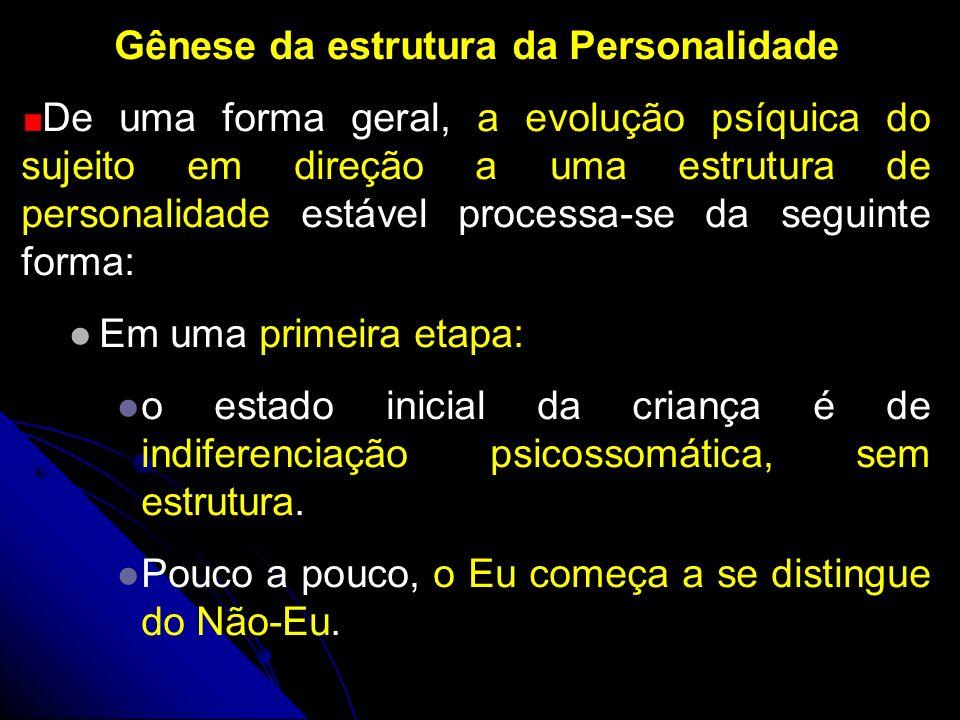 Gênese da estrutura da Personalidade De uma forma geral, a evolução psíquica do sujeito em direção a uma estrutura de personalidade estável processa-s