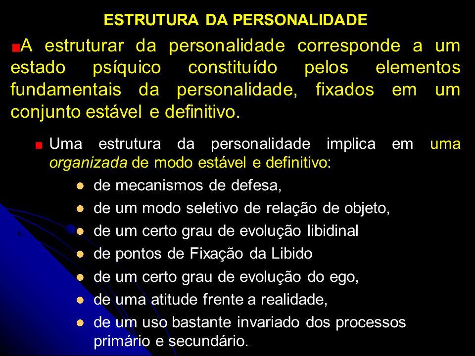 ESTRUTURA DA PERSONALIDADE A estruturar da personalidade corresponde a um estado psíquico constituído pelos elementos fundamentais da personalidade, f