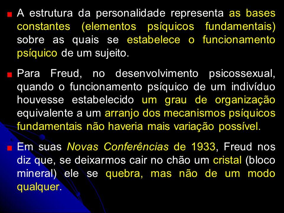 A estrutura da personalidade representa as bases constantes (elementos psíquicos fundamentais) sobre as quais se estabelece o funcionamento psíquico