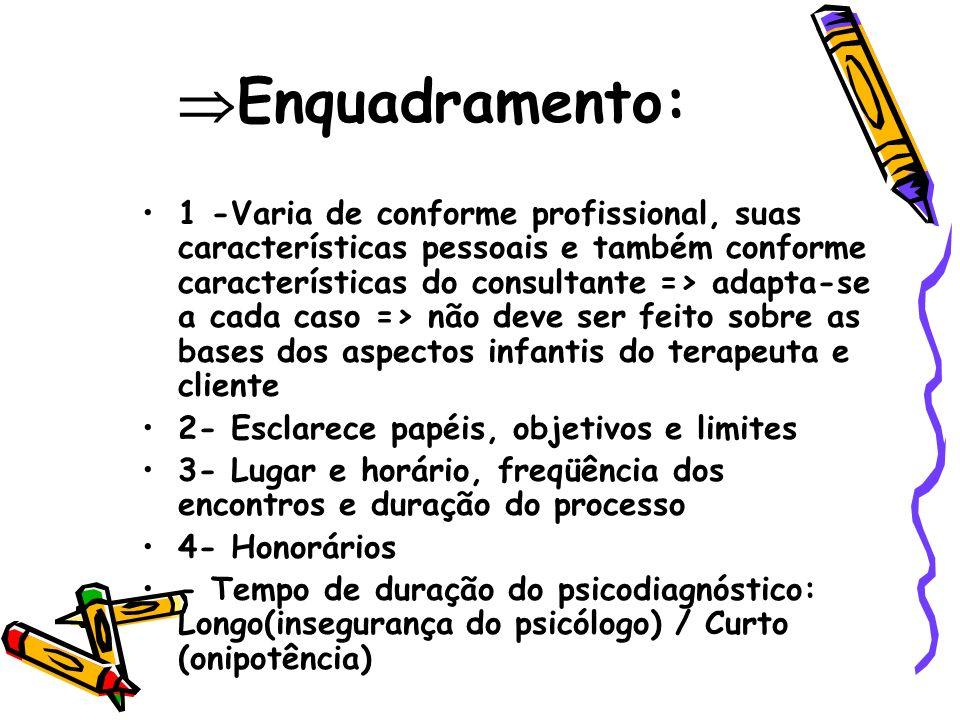 Enquadramento: 1 -Varia de conforme profissional, suas características pessoais e também conforme características do consultante => adapta-se a cada c