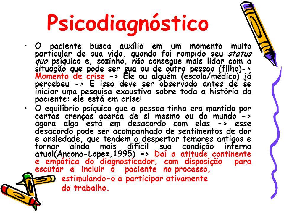 Psicodiagnóstico O paciente busca auxílio em um momento muito particular de sua vida, quando foi rompido seu status quo psíquico e, sozinho, não conse