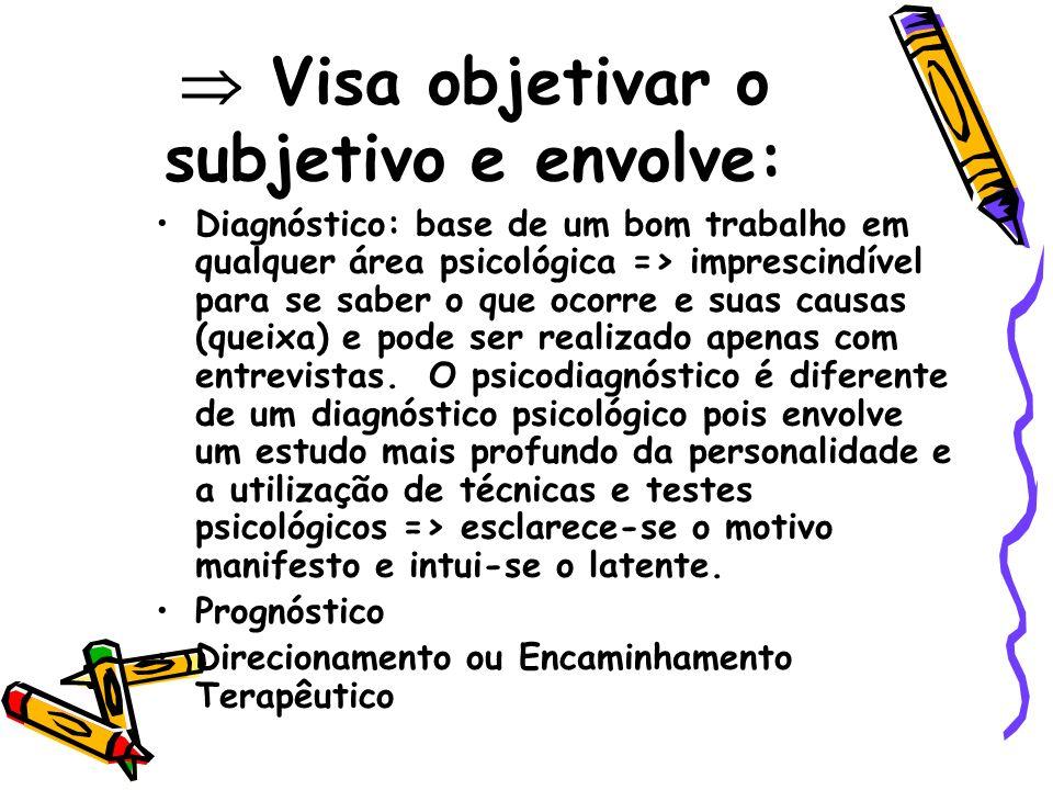 Visa objetivar o subjetivo e envolve: Diagnóstico: base de um bom trabalho em qualquer área psicológica => imprescindível para se saber o que ocorre e