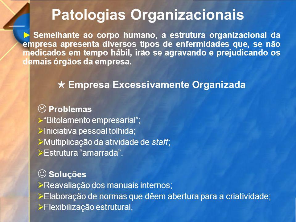 Patologias Organizacionais Semelhante ao corpo humano, a estrutura organizacional da empresa apresenta diversos tipos de enfermidades que, se não medi