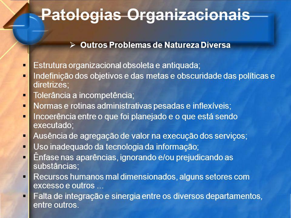 Patologias Organizacionais Outros Problemas de Natureza Diversa Estrutura organizacional obsoleta e antiquada; Indefinição dos objetivos e das metas e
