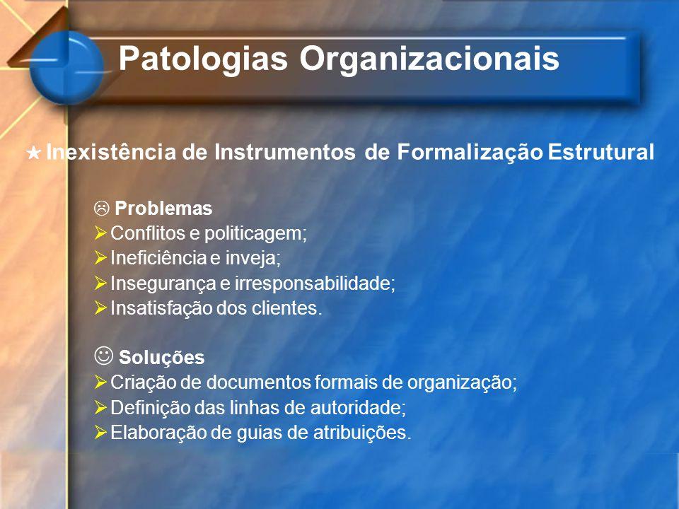 Inexistência de Instrumentos de Formalização Estrutural Problemas Conflitos e politicagem; Ineficiência e inveja; Insegurança e irresponsabilidade; In