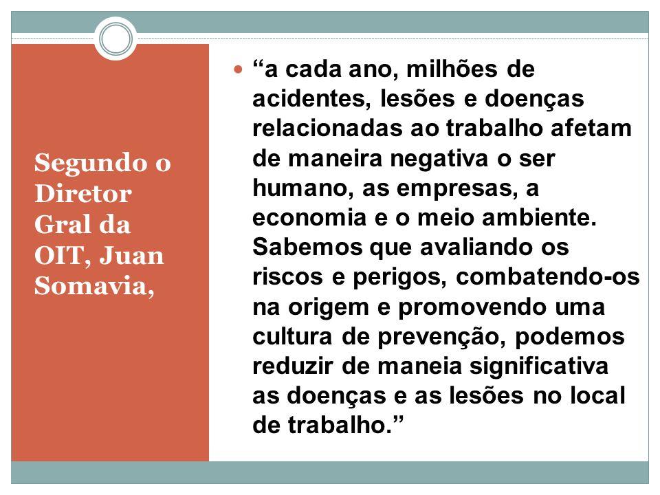 Segundo o Diretor Gral da OIT, Juan Somavia, a cada ano, milhões de acidentes, lesões e doenças relacionadas ao trabalho afetam de maneira negativa o