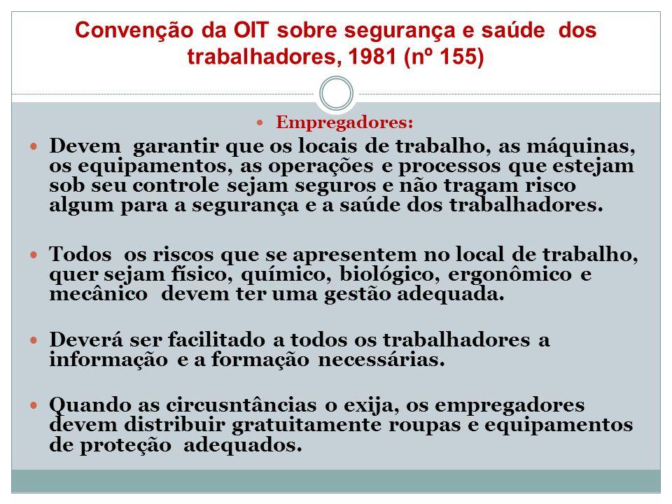 Convenção da OIT sobre segurança e saúde dos trabalhadores, 1981 (nº 155) Empregadores: Devem garantir que os locais de trabalho, as máquinas, os equi