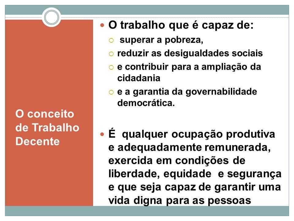 O conceito de Trabalho Decente O trabalho que é capaz de: superar a pobreza, reduzir as desigualdades sociais e contribuir para a ampliação da cidadan