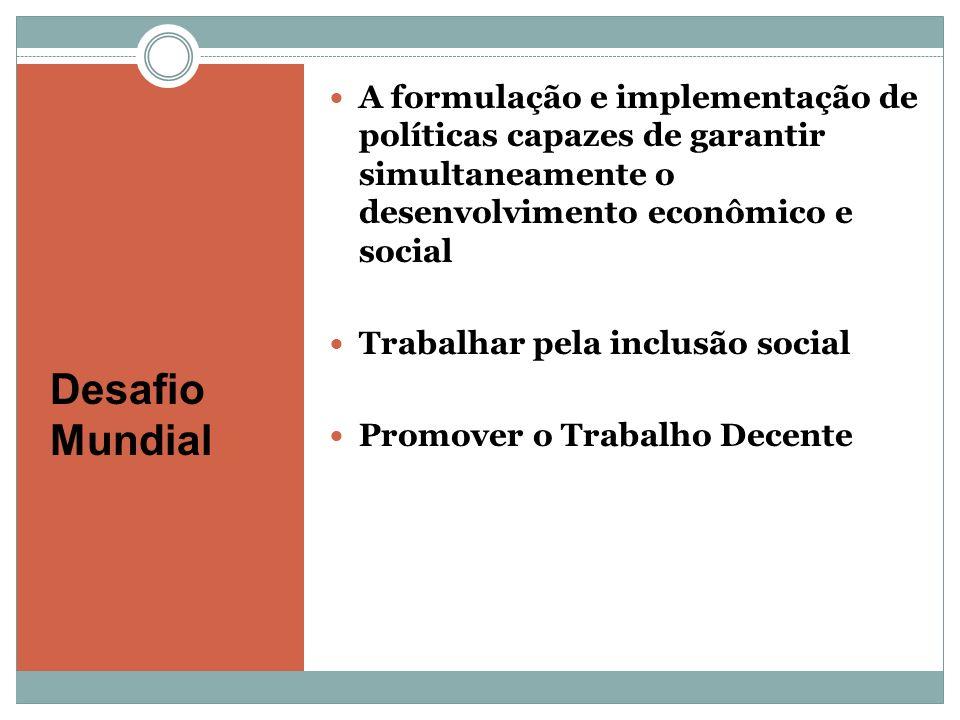 Desafio Mundial A formulação e implementação de políticas capazes de garantir simultaneamente o desenvolvimento econômico e social Trabalhar pela incl