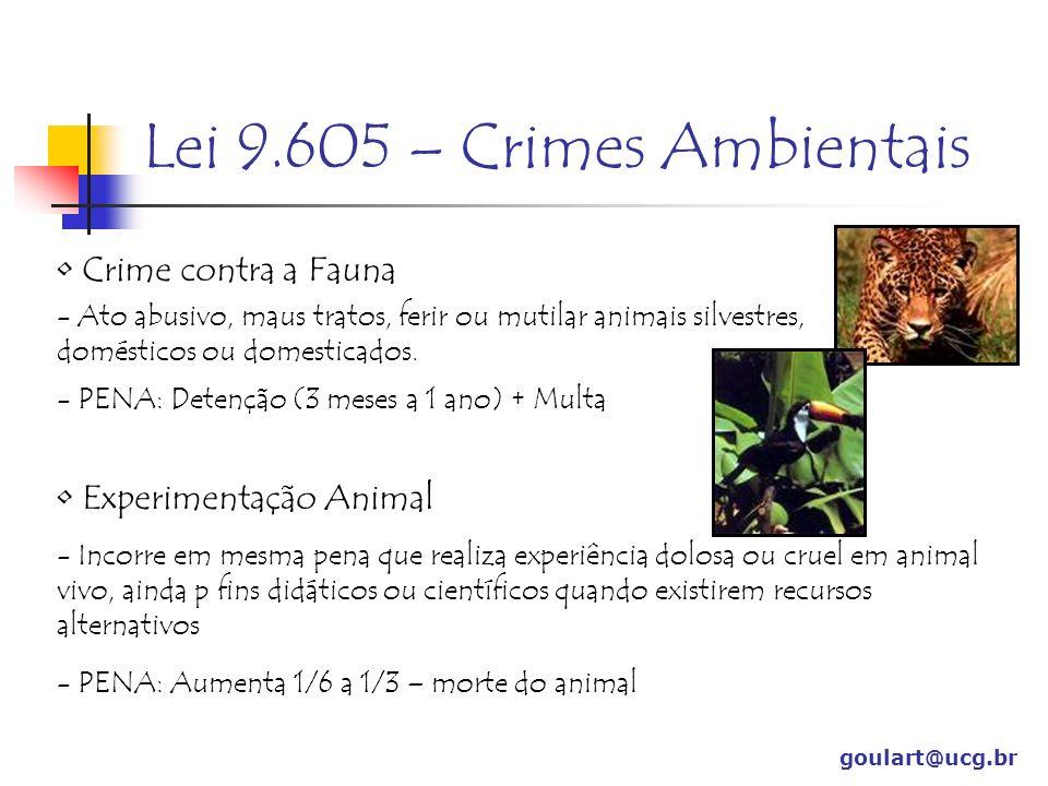 Lei 9.605 – Crimes Ambientais goulart@ucg.br Crime contra a Fauna - Ato abusivo, maus tratos, ferir ou mutilar animais silvestres, domésticos ou domesticados.