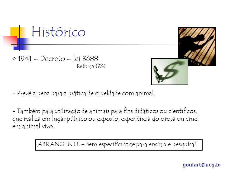 Histórico goulart@ucg.br 1979 – 1ª tentativa – Normas didático-científica da Vivissecção Lei 6638 – Entrou em vigor Não encontrou regulamentação