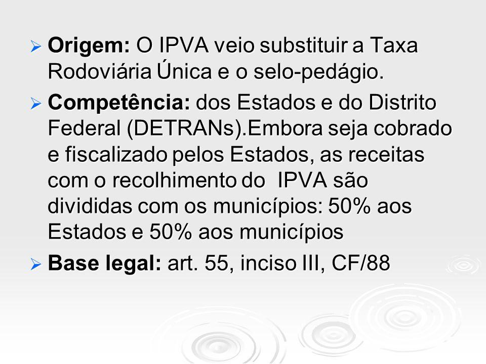 Origem: O IPVA veio substituir a Taxa Rodoviária Única e o selo-pedágio. Origem: O IPVA veio substituir a Taxa Rodoviária Única e o selo-pedágio. Comp