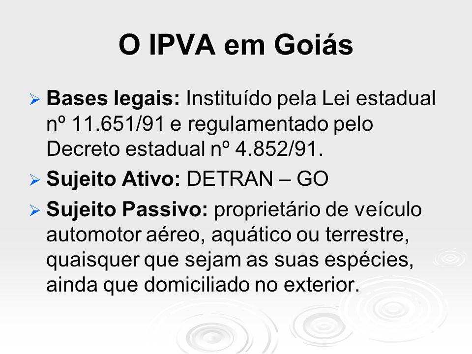 O IPVA em Goiás Bases legais: Instituído pela Lei estadual nº 11.651/91 e regulamentado pelo Decreto estadual nº 4.852/91. Bases legais: Instituído pe