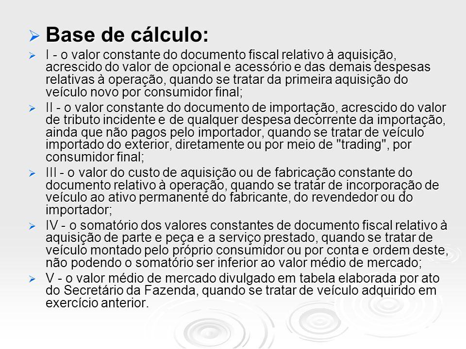 Base de cálculo: Base de cálculo: I - o valor constante do documento fiscal relativo à aquisição, acrescido do valor de opcional e acessório e das dem