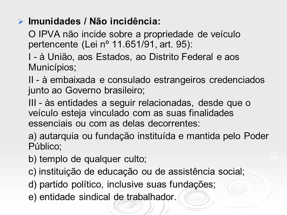 Imunidades / Não incidência: Imunidades / Não incidência: O IPVA não incide sobre a propriedade de veículo pertencente (Lei nº 11.651/91, art. 95): I