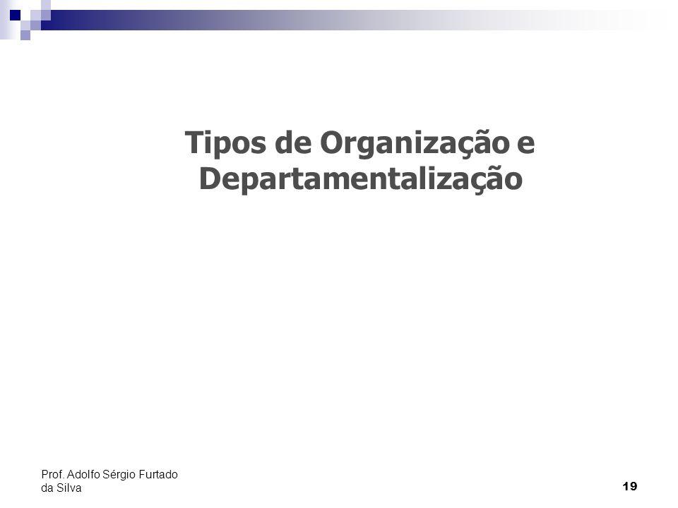 19 Prof. Adolfo Sérgio Furtado da Silva Tipos de Organização e Departamentalização