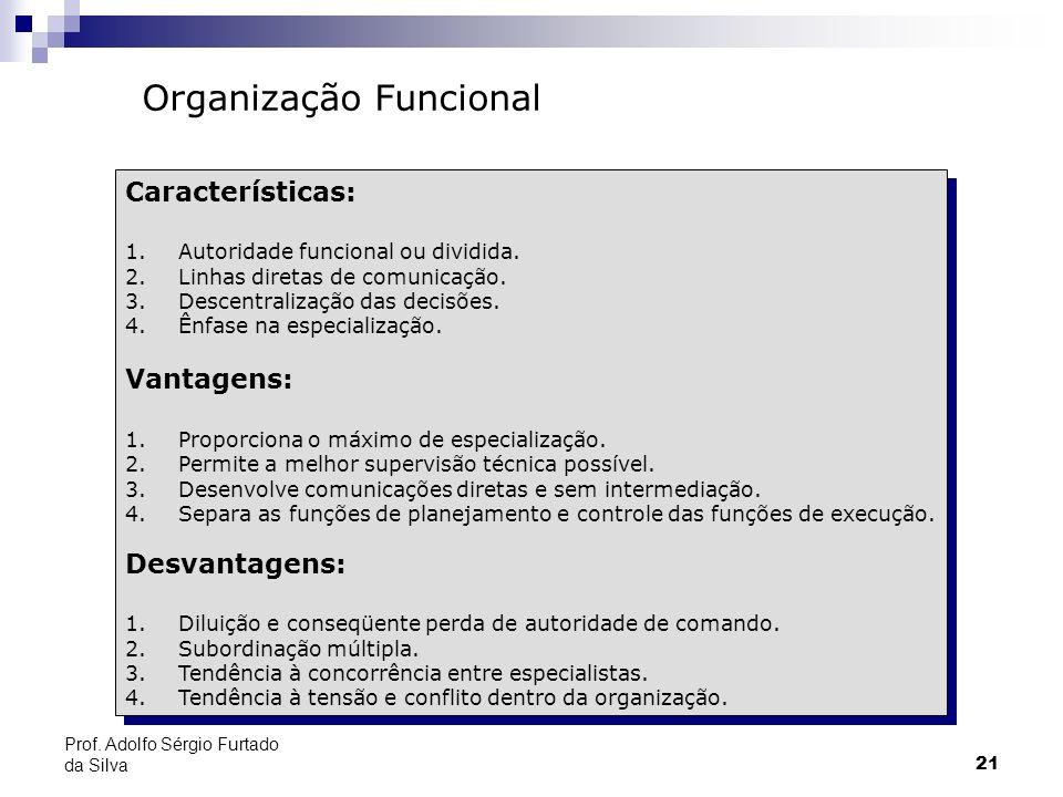 21 Prof. Adolfo Sérgio Furtado da Silva Organização Funcional Características: 1.Autoridade funcional ou dividida. 2.Linhas diretas de comunicação. 3.