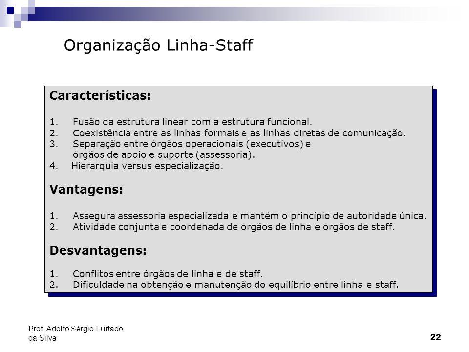 22 Prof. Adolfo Sérgio Furtado da Silva Organização Linha-Staff Características: 1.Fusão da estrutura linear com a estrutura funcional. 2.Coexistência