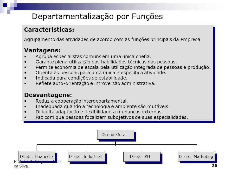 29 Características: Agrupamento das atividades de acordo com as funções principais da empresa. Vantagens: Agrupa especialistas comuns em uma única che
