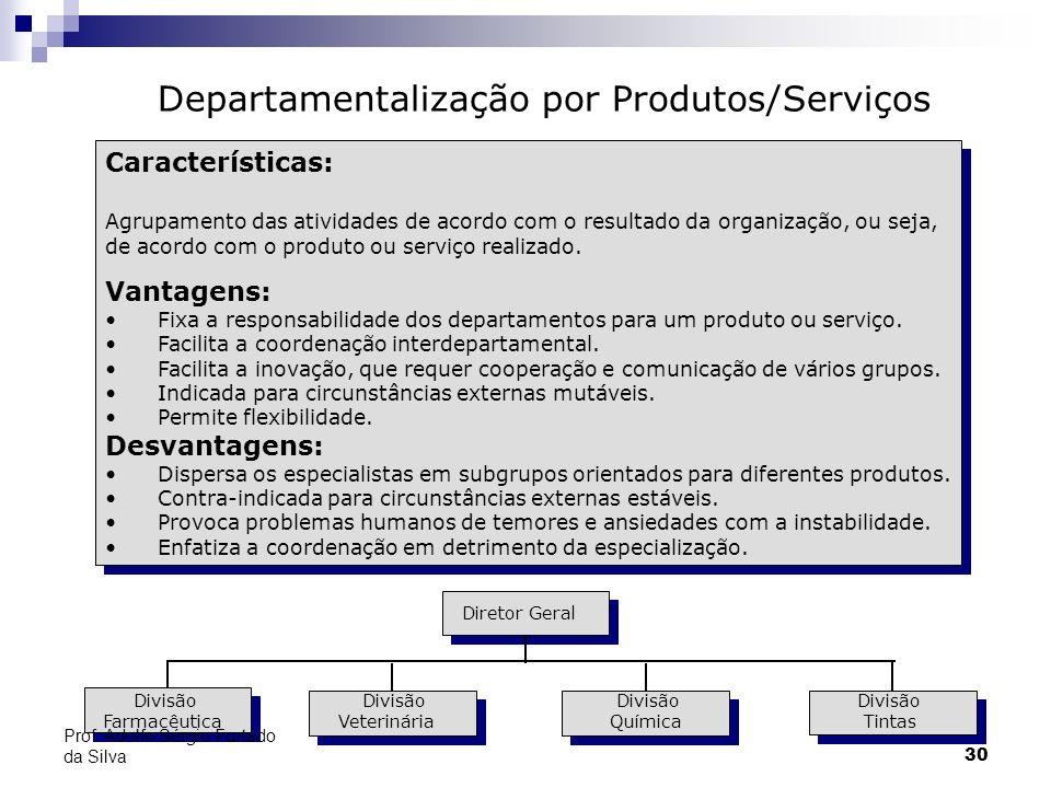30 Características: Agrupamento das atividades de acordo com o resultado da organização, ou seja, de acordo com o produto ou serviço realizado. Vantag