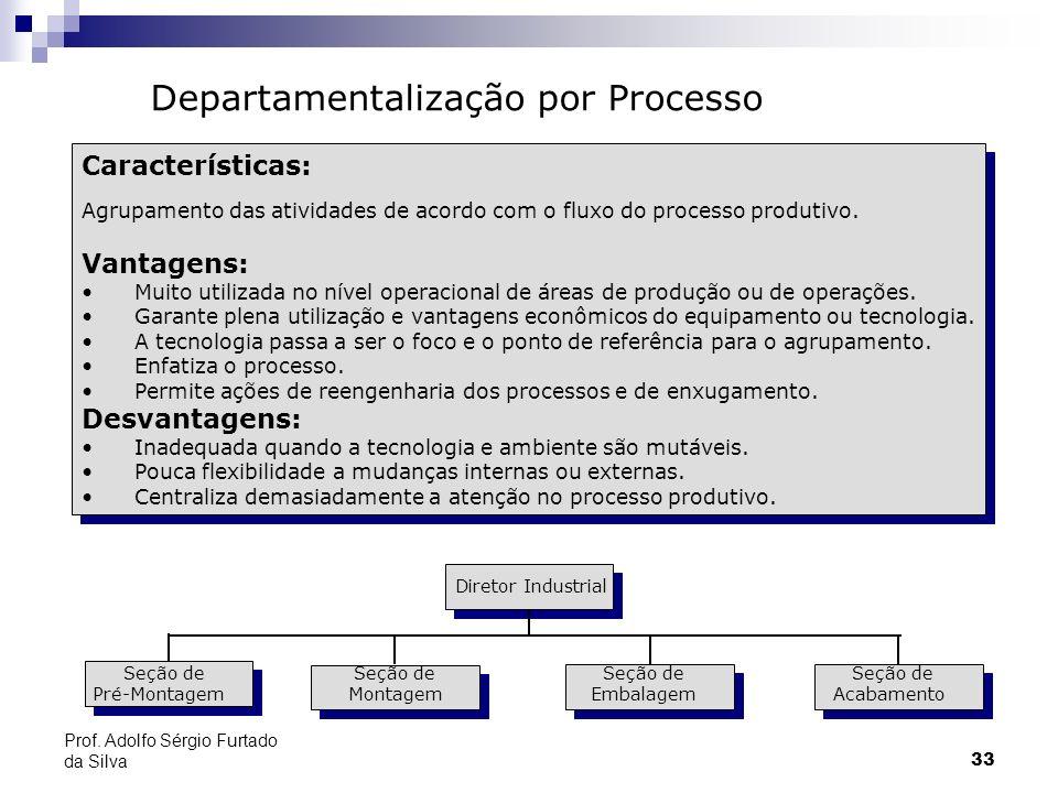 33 Características: Agrupamento das atividades de acordo com o fluxo do processo produtivo. Vantagens: Muito utilizada no nível operacional de áreas d