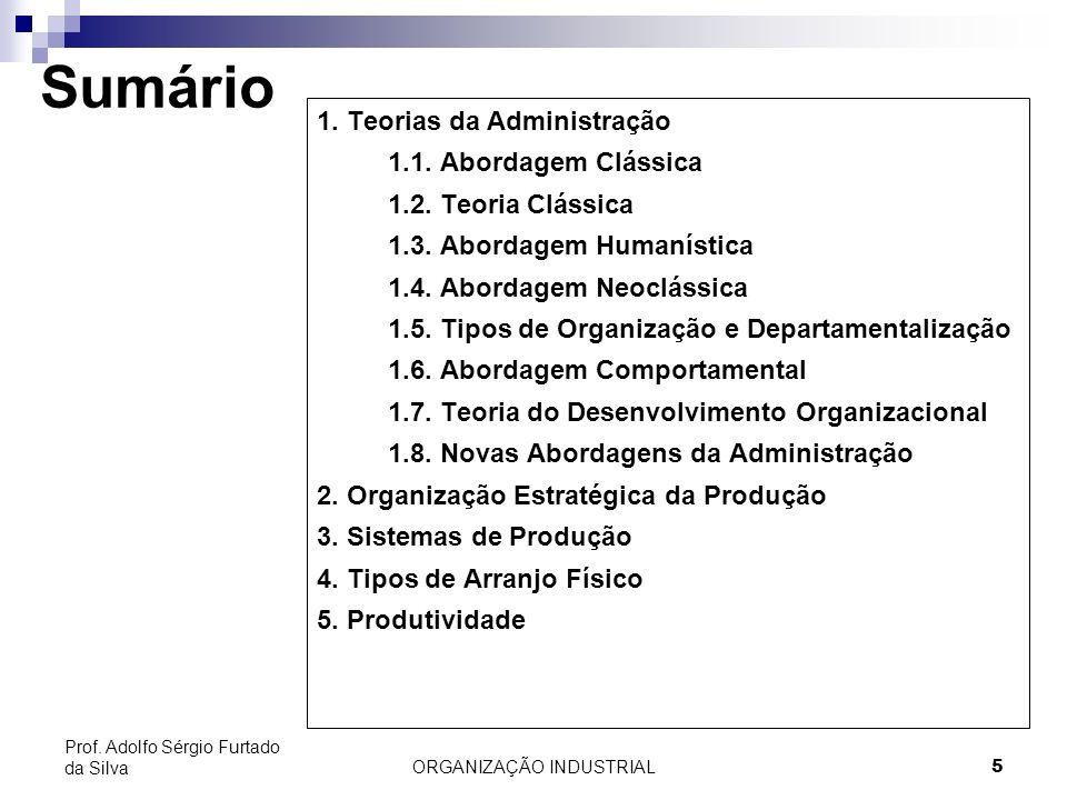ORGANIZAÇÃO INDUSTRIAL 5 Prof. Adolfo Sérgio Furtado da Silva Sumário 1. Teorias da Administração 1.1. Abordagem Clássica 1.2. Teoria Clássica 1.3. Ab
