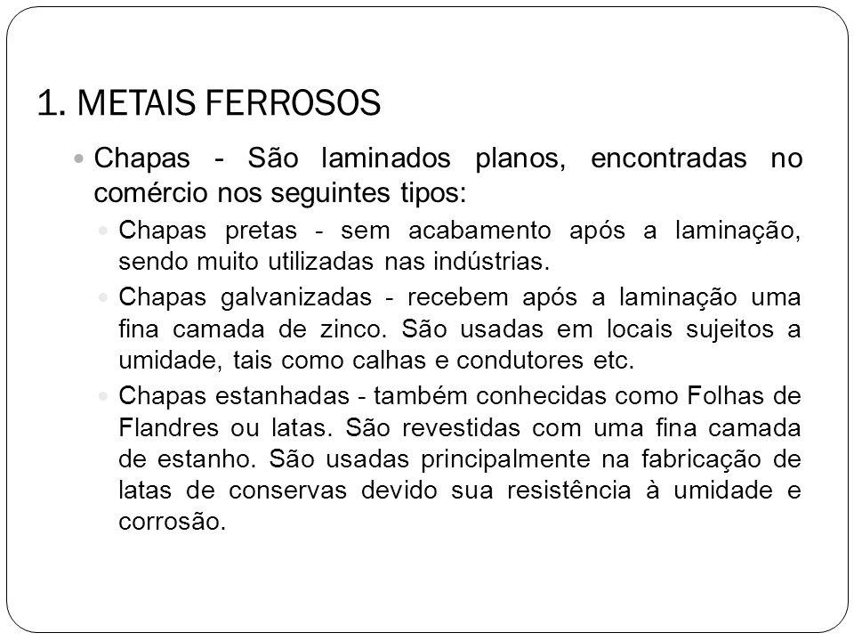 1. METAIS FERROSOS Chapas - São laminados planos, encontradas no comércio nos seguintes tipos: Chapas pretas - sem acabamento após a laminação, sendo