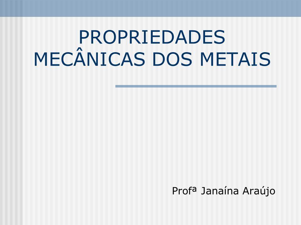 PROPRIEDADES MECÂNICAS DOS METAIS Profª Janaína Araújo
