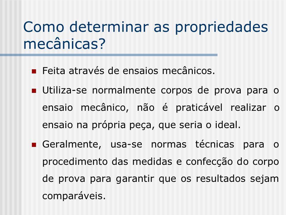 Como determinar as propriedades mecânicas? Feita através de ensaios mecânicos. Utiliza-se normalmente corpos de prova para o ensaio mecânico, não é pr