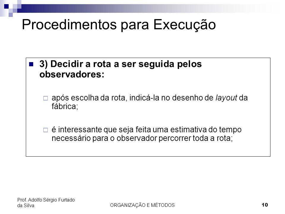 ORGANIZAÇÃO E MÉTODOS10 Prof. Adolfo Sérgio Furtado da Silva Procedimentos para Execução 3) Decidir a rota a ser seguida pelos observadores: após esco