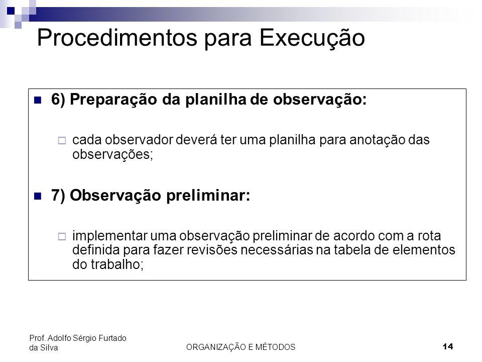 ORGANIZAÇÃO E MÉTODOS14 Prof. Adolfo Sérgio Furtado da Silva Procedimentos para Execução 6) Preparação da planilha de observação: cada observador deve