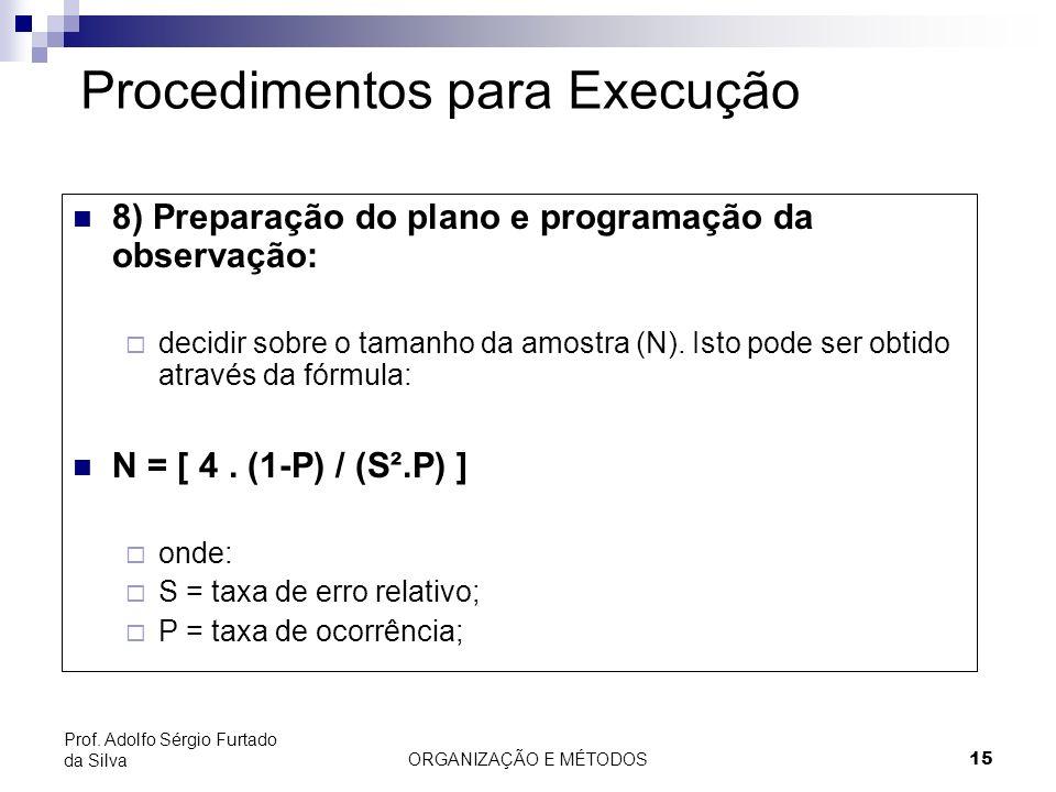 ORGANIZAÇÃO E MÉTODOS15 Prof. Adolfo Sérgio Furtado da Silva Procedimentos para Execução 8) Preparação do plano e programação da observação: decidir s