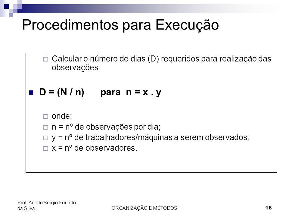 ORGANIZAÇÃO E MÉTODOS16 Prof. Adolfo Sérgio Furtado da Silva Procedimentos para Execução Calcular o número de dias (D) requeridos para realização das