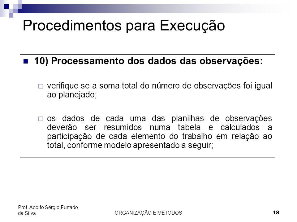 ORGANIZAÇÃO E MÉTODOS18 Prof. Adolfo Sérgio Furtado da Silva Procedimentos para Execução 10) Processamento dos dados das observações: verifique se a s