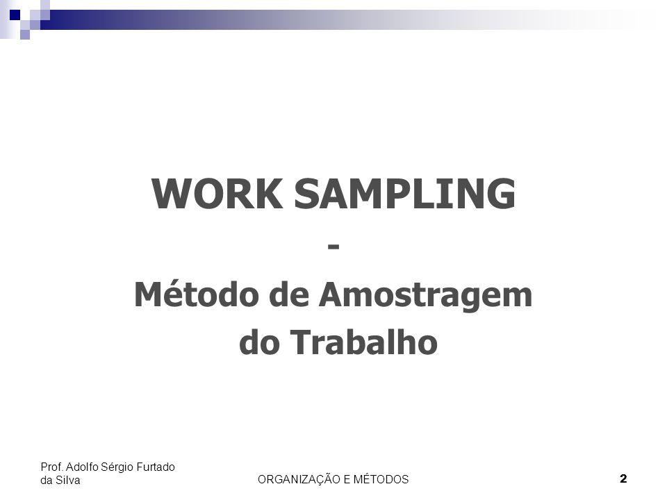 ORGANIZAÇÃO E MÉTODOS2 Prof. Adolfo Sérgio Furtado da Silva WORK SAMPLING - Método de Amostragem do Trabalho