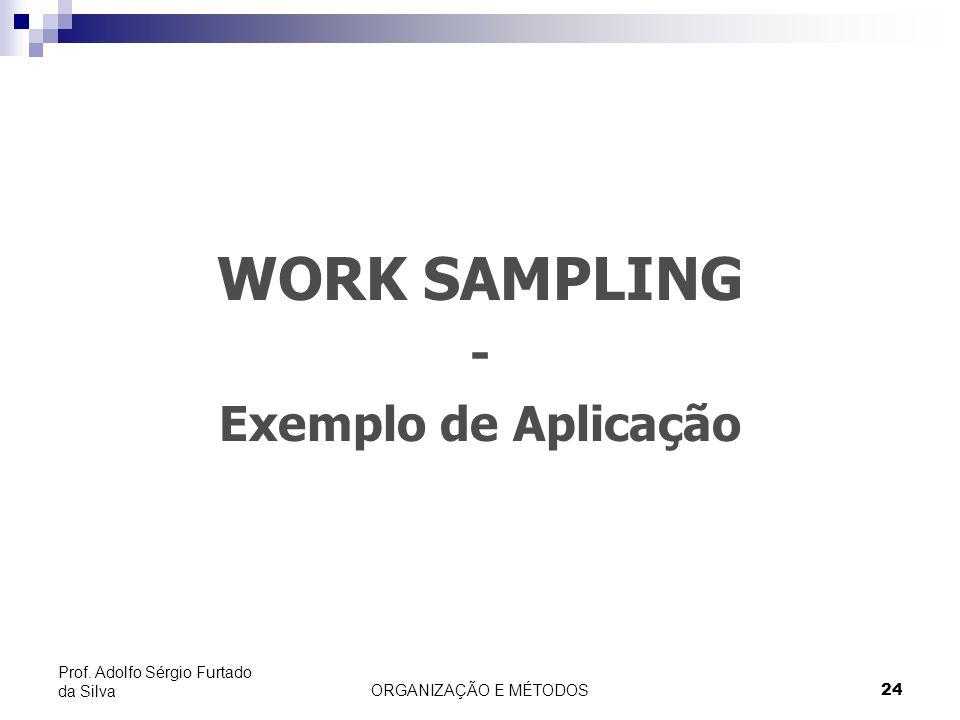ORGANIZAÇÃO E MÉTODOS24 Prof. Adolfo Sérgio Furtado da Silva WORK SAMPLING - Exemplo de Aplicação