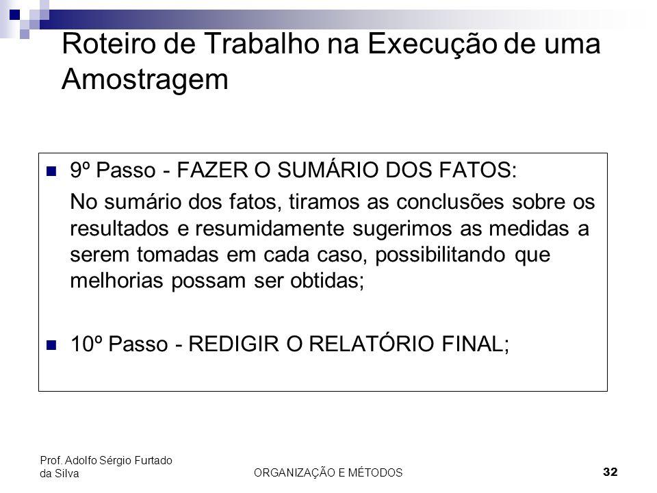 ORGANIZAÇÃO E MÉTODOS32 Prof. Adolfo Sérgio Furtado da Silva Roteiro de Trabalho na Execução de uma Amostragem 9º Passo - FAZER O SUMÁRIO DOS FATOS: N