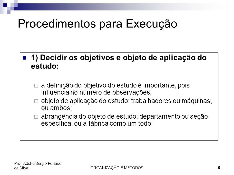 ORGANIZAÇÃO E MÉTODOS8 Prof. Adolfo Sérgio Furtado da Silva Procedimentos para Execução 1) Decidir os objetivos e objeto de aplicação do estudo: a def
